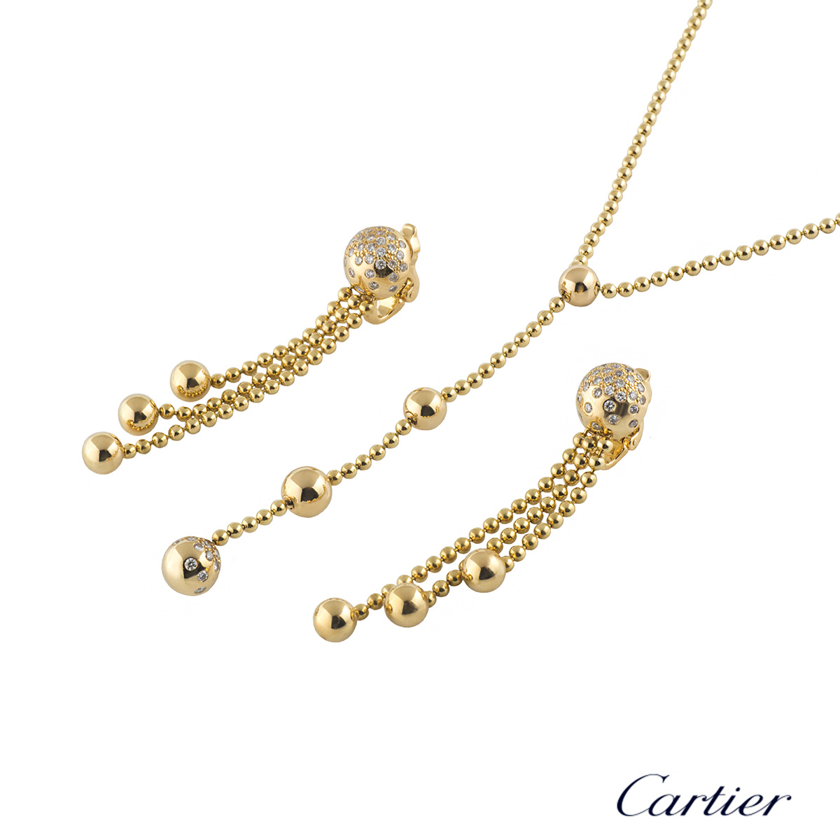 Cartier Yellow Gold Diamond Draperie Jewellery Suite